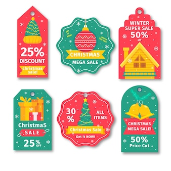 Etiqueta de venta colección navideña en tonos rojo amarillo y verde