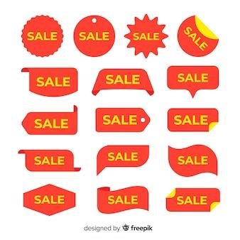 Etiqueta de venta con colección de texto amarillo
