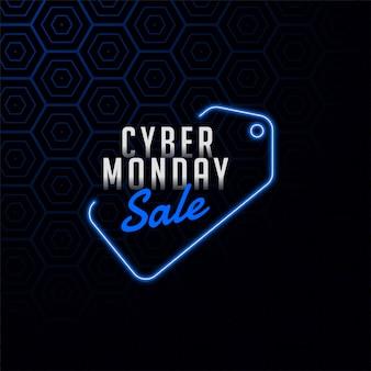 Etiqueta de venta de cyber monday en banner de diseño de estilo neón