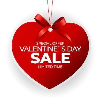 Etiqueta de venta de día de san valentín de corazón con lazo