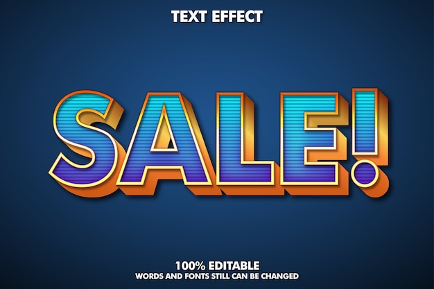 Etiqueta de venta, efecto de texto editable