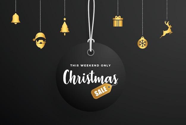 Etiqueta de venta de navidad con elementos de oro