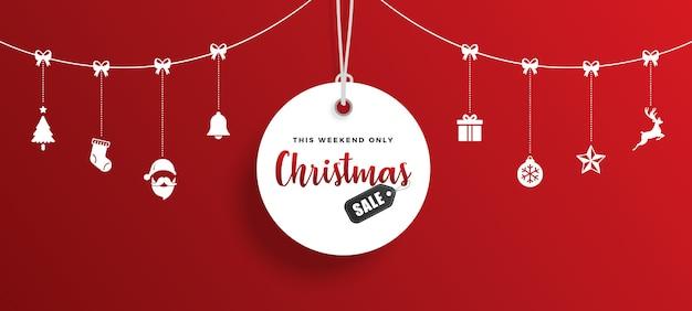Etiqueta de venta de navidad con elementos