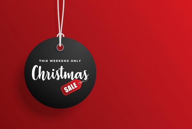 Etiqueta de venta de navidad con fondo rojo