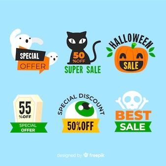 Etiqueta de venta plana con criaturas de halloween