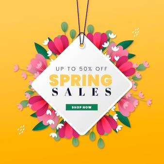 Etiqueta de venta de primavera con percha y flores