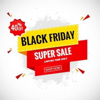 Etiqueta de venta de promoción de viernes negro