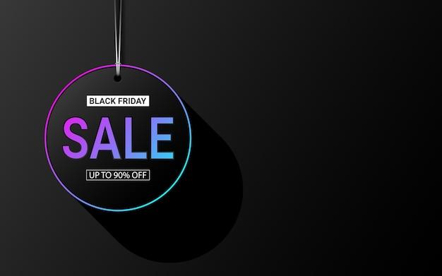 Etiqueta de venta texto 3d en círculo efecto de color de luz neón