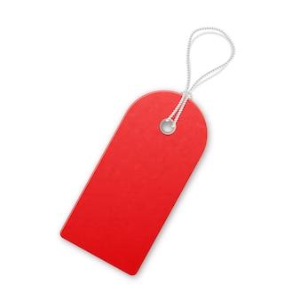 Etiqueta de venta con textura realista rojo con cuerda.