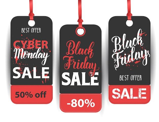 Etiqueta de venta de viernes negro con cita hecha a mano. letras de pincel moderno manuscritas de black friday, cyber monday. mejor oferta.