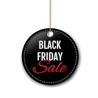 Etiqueta de venta de viernes negro con cuerda fondo blanco con malla de degradado