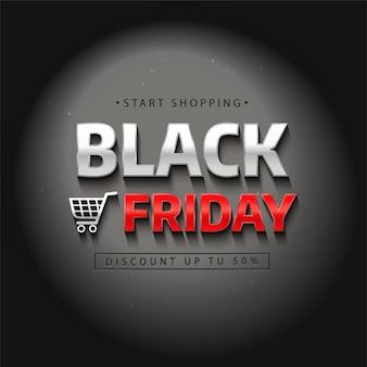 Etiqueta de venta de viernes negro. letras realistas en la oscuridad bajo la luz.