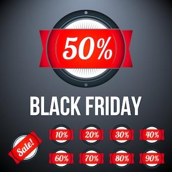Etiqueta de venta de viernes negro con porcentajes.