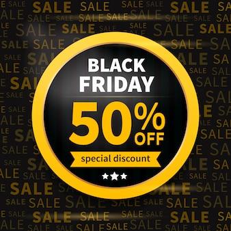Etiqueta de venta de viernes negro en tipografía banner de descuento
