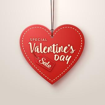Etiqueta de ventas en forma de corazón del día de san valentín