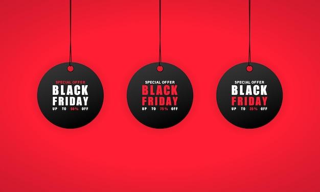 Etiqueta de ventas de viernes negro. 25, 50 y 75 por ciento de descuento.