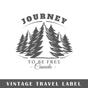 Etiqueta de viaje aislada sobre fondo blanco. elemento. plantilla para logotipo, señalización, marca.