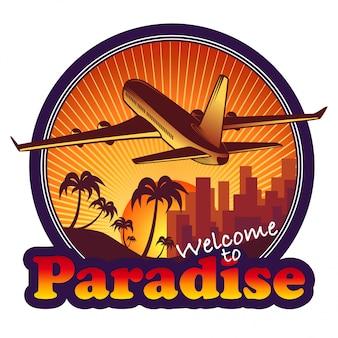 Etiqueta de viaje paraíso con avión sobre fondo puesta de sol