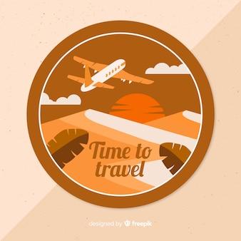 Etiqueta de viaje vintage diseño plano