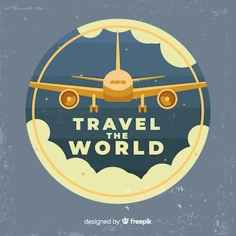 Etiqueta de viaje vintage en diseño plano