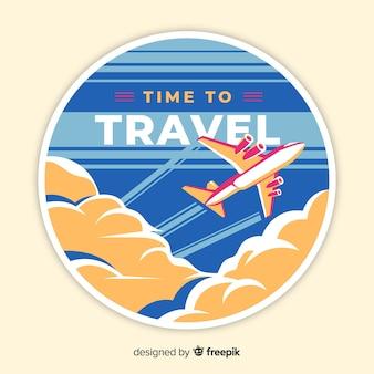 Etiqueta viaje vintage diseño plano
