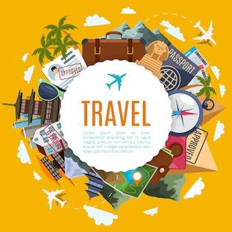 Etiqueta de viajes y turismo con atracciones.
