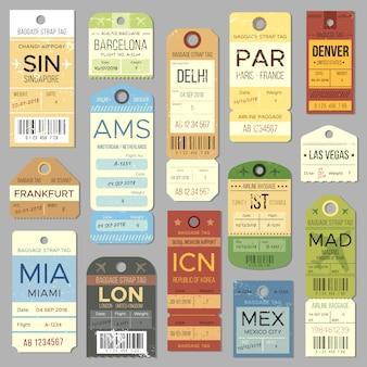 Etiqueta vieja del equipaje o etiqueta retra con símbolo del registro de vuelo.
