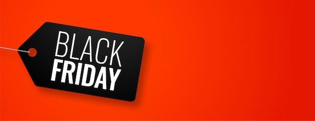 Etiqueta de viernes negro en banner rojo con espacio de texto