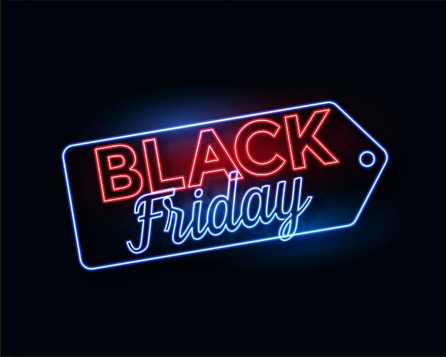 Etiqueta de viernes negro en brillantes luces de neón