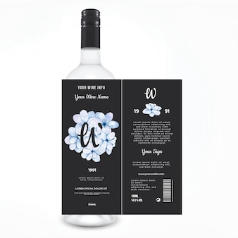 Etiqueta de vino floral publicidad de bebidas