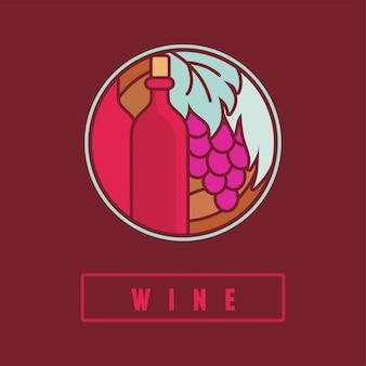 Etiqueta de vino vector en estilo plano simple