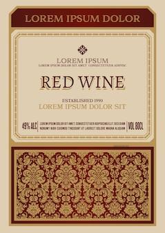 Etiqueta de vino vintage con marco floral