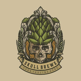 Etiqueta vintage de cervezas cráneo