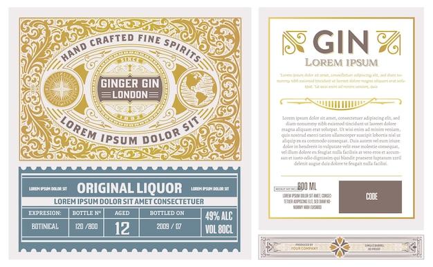 Etiqueta vintage completa con diseño de licor de ginebra