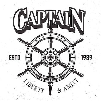 Etiqueta vintage de rueda de barco capitán