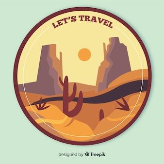 Etiqueta vintage de viaje en diseño plano