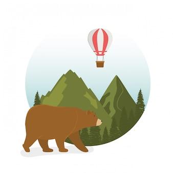 Etiqueta de wanderlust con paisaje y escena de oso pardo