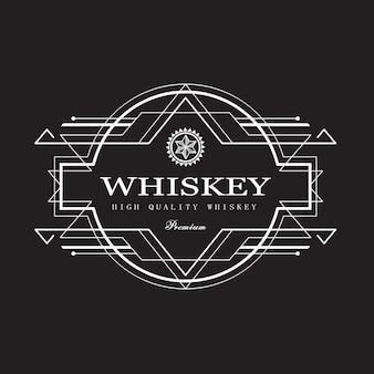 Etiqueta de whisky art deco diseño antiguo marco frontera