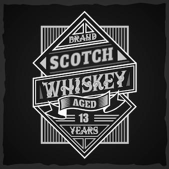 Etiqueta de whisky escocés vintage con composición de letras