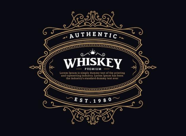 Etiqueta de whisky insignia vintage antiguo marco dibujado a mano diseño retro
