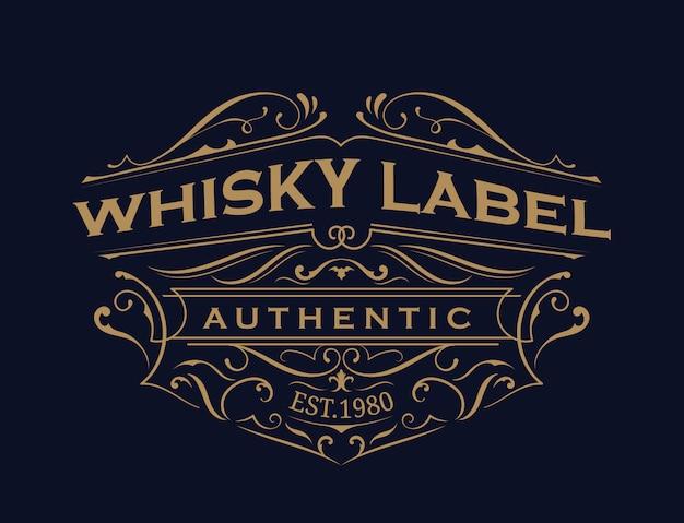 Etiqueta de whisky tipografía antigua diseño de logotipo de marco vintage