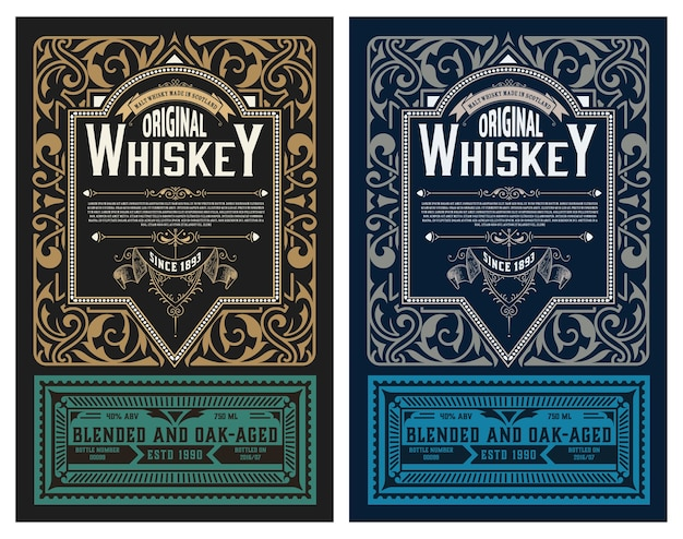 Etiqueta de whisky vintage retro