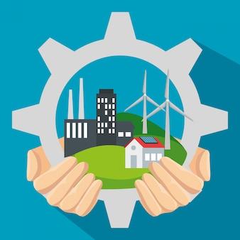 Etiquetar equipo con energía eólica y solar sostenible