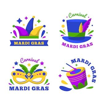 Etiquetas de accesorios de carnaval de mardi gras
