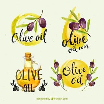 Etiquetas de aceite de oliva en acuarela