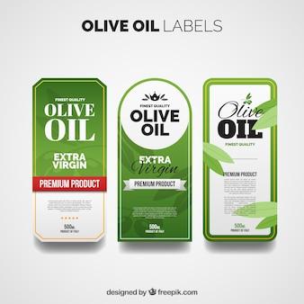 Etiquetas de aceite de oliva con diferentes diseños