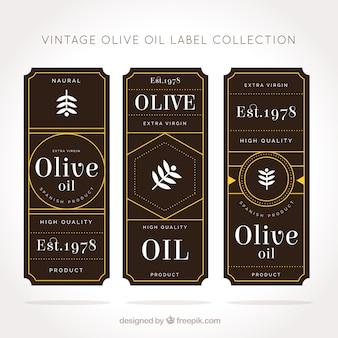 Etiquetas de aceite de oliva marrones y amarillas en estilo vintage