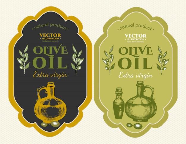 Etiquetas de aceites de oliva.