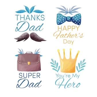 Etiquetas de acuarela del día del padre