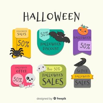 Etiquetas adorables de rebajas de halloween dibujadas a mano